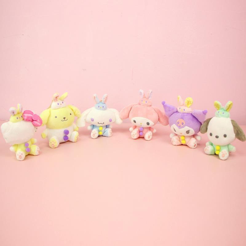 1Pcs Cartoon Sanrio My Melody Pudding Cinnamoroll Dog Kuromi Cartoon Plush Toy Doll Purse Bag Hang Decor Pendant For Girls Gifts