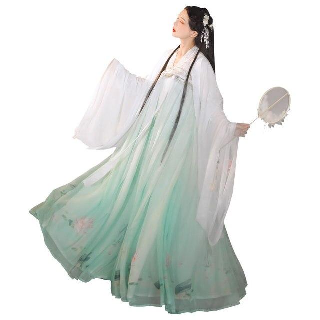 2020 chinois Hanfu tenues fée robe blanc manteau vert jupe Festival Folk danse Costume chinois vêtements pour les femmes Hanfu BI772