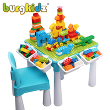 Kids Montessori Activity Table With 128 PCS Big Building Blocks STEM Toy Educational Toddler Table Building Block Toys For Kids
