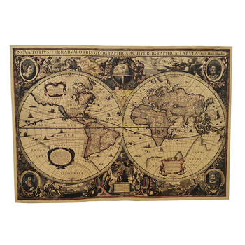 1 Pcs English Poster Vintage Decoration Student School Stylistic Teaching Geography Atlas Science Fiction Movie Treasure Map