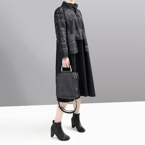 Image 4 - חדש קוריאני סגנון 2019 נשים חורף שמלה שחורה ארוך שרוול מנדרינית צווארון פסים טלאים ליידי Midi רטרו שמלת vestido 5667
