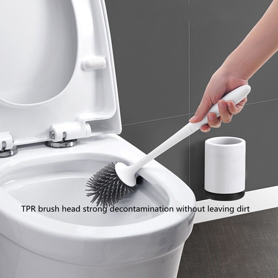 TPR Silicone Toilet Brush Floor-standing Wall-mounted Base Cleaning Brush For Toilet Bathroom Accessories Set Household Items