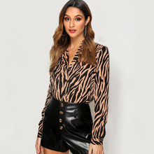 Women Blouses Long Sleeve Turn Down Collar Chiffon Blouse Fashion Zebra Print Office Shirt Casual Tops Plus Size Chemisier femme plus size women blouse fashion long sleeve heart print blouses turn down collar lady office shirt elegant casual loose tops