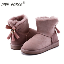 Snow-Boots Warm Shoes Suede Winter Sheepskin Leather Fur Ankle with Bowknots Mink-Fur
