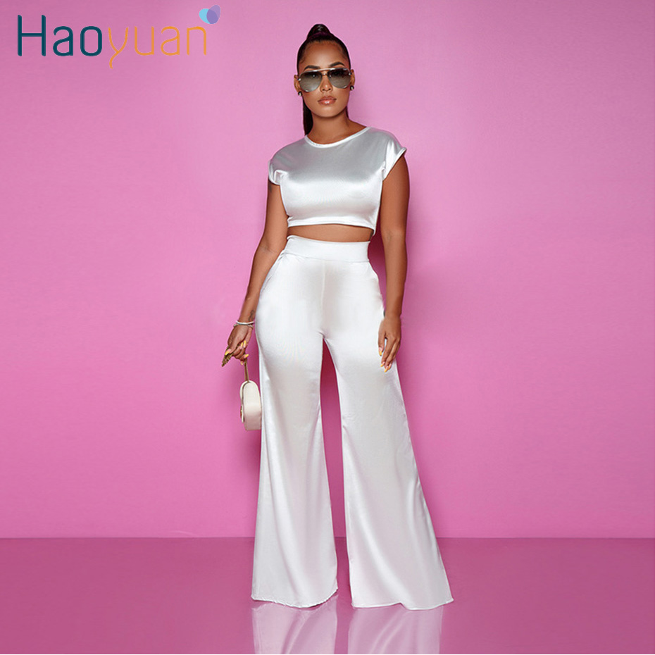 HAOYUAN Sexy Satin Two Piece Set Women Festival Clothes Crop Top And Wide Leg Pants Suit Fall 2 Piece Club Outfits Matching Sets