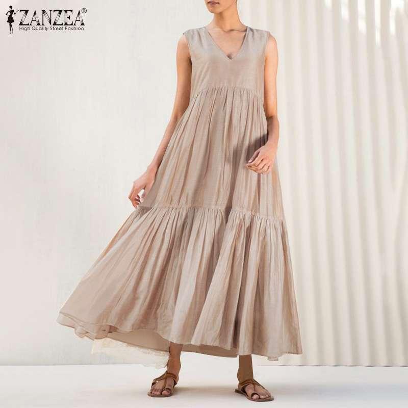 Stilvolle Feste Rüschen Kleid frauen Sommer Sommerkleid 2021 ZANZEA Casual Ärmellose Tank Vestidos Weibliche O Neck Robe Übergroßen