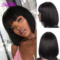Brazilian Straight Short Bob Human Hair Wigs with Bangs for Black Women Remy Cheap Lace Wigs on Sale perruque cheveux bresilien