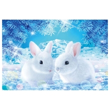 Full Round Drill 5D DIY Diamond Painting Snow Rabbit Embroidery Cross Stitch Home Decor Gift