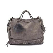 Vintage Nubuck Leather Female Top-handle Bags Rivet Larger Women  Hair Ball Shoulder Bag Motorcycle Messenger Bag NA-02 цена и фото