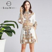 SEQINYY Vintage Dress 2020 Summer Spring New Fashion Design Long Lantern Sleeve High Quality Orange Flowers Printed Mini