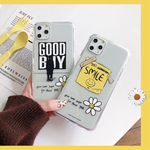 Korean GD Hand drawn doodle smile label Graffiti Fragment flower Case for iPhone 11 pro X XS MAX XR 8 7 Plus Clear Soft Cover(China)