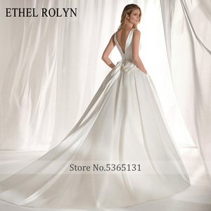Image 2 - ETHEL ROLYN Elegant Satin Vintage Wedding Dress 2020 Sexy V neckline Bow Simple Bride A Line Bridal Gowns Vestido De Noiva