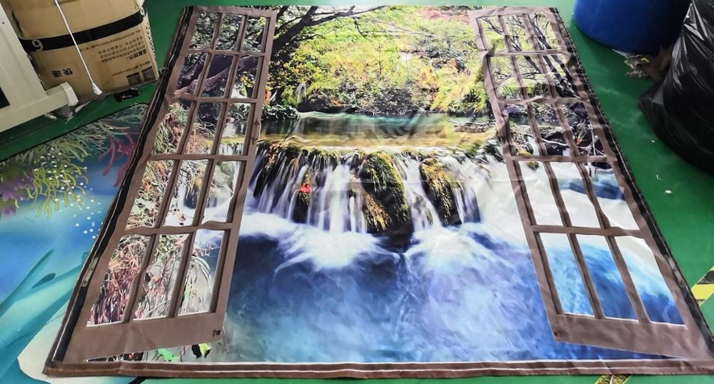 Image 5 - Wide Waterfall Deep Down in The Forest Seen from A City Window Epic Surreal Decorative Shower Curtain Landscape Bathroom Curtain-in Shower Curtains from Home & Garden