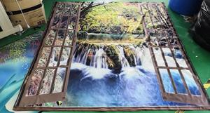 Image 5 - Wide Waterfall Deep Down in The Forest Seen from A City Window Epic Surreal Decorative Shower Curtain Landscape Bathroom Curtain