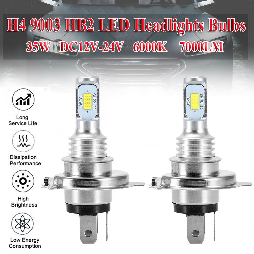 2pcs H4 9003 HB2 LED Headlight Bulb Beam Kit 12V 35W High Power LED Car Light Headlamp 6000K Auto Headlight Bulbs 7000LM