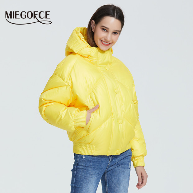 MIEGOFCE 2020 New Design Winter Coat Women's Jacket Insulated Cut Waist Length With Pockets Casual Parka Stand Collar Hooded 2