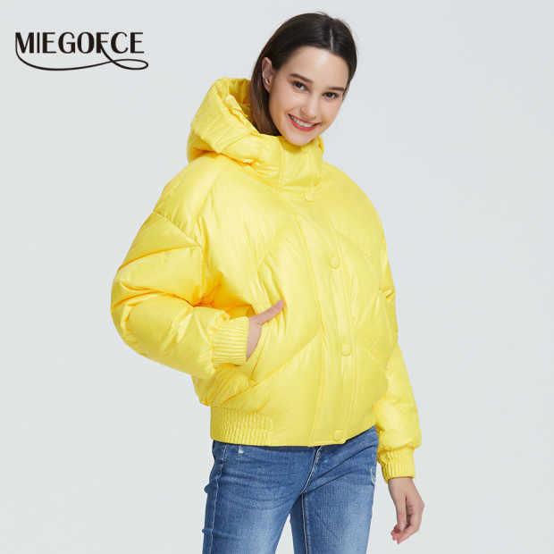 MIEGOFCE 2019 تصميم جديد معطف الشتاء سترة نسائية معزول قطع الخصر طول مع جيوب عادية سترة الوقوف طوق مقنعين