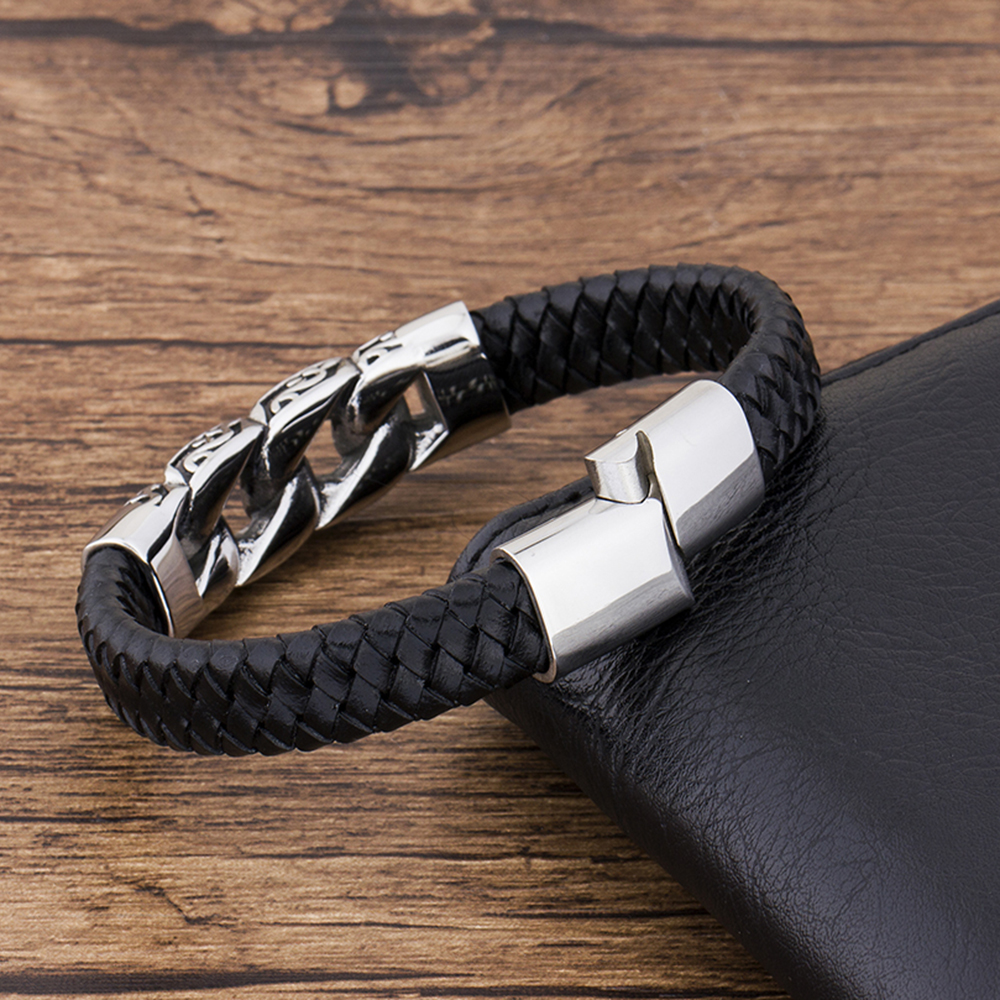 Charm Genuine Leather Black Stainless Steel Magnetic hk Bracelet Men Birthday Gift For boy friend