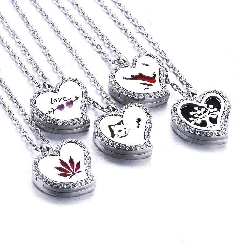 New Aromatherapy Jewelry Essential Oil Diffuser Necklace Love Heart Open Perfume Lockets Pendants Aroma Diffuser Necklace