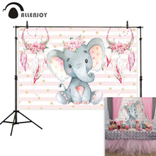 Allenjoy princess backdrop Pink elephant streaks flowers feathers birthday party background photozone photocall photophone prop цена в Москве и Питере