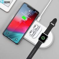 3 em 1 qi carregador sem fio para apple watch iphone 11 xs samsung s20 qc 3.0 10 w almofada de carregamento rápido para iwatch 5 4 3 2 airpods pro Carregadores sem Fio     -