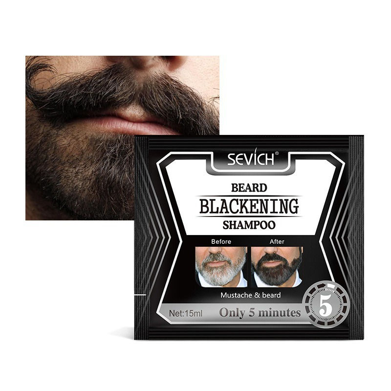 5pcs/set Beard Blackening Shampoo Natural Dyed Beards Shampoo Without Stimulation Beard Care Supplies image