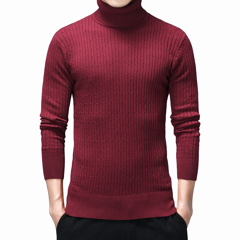 Grey Mens Pullovers Sweater Autumn Winter Cotton Turtleneck Sweaters Men Slim Clothes Casual Long Sleeve Christmas Clothes 3XL