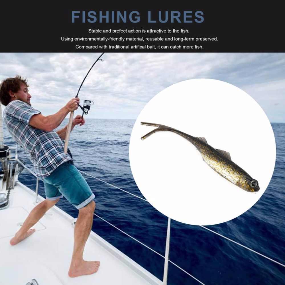 3 pz/lotto 105 millimetri Esche Da Pesca Flessibile Coda Biforcuta Richiamo Morbido Esche Artificiali In Silicone Attrezzatura Da Pesca MNA-003