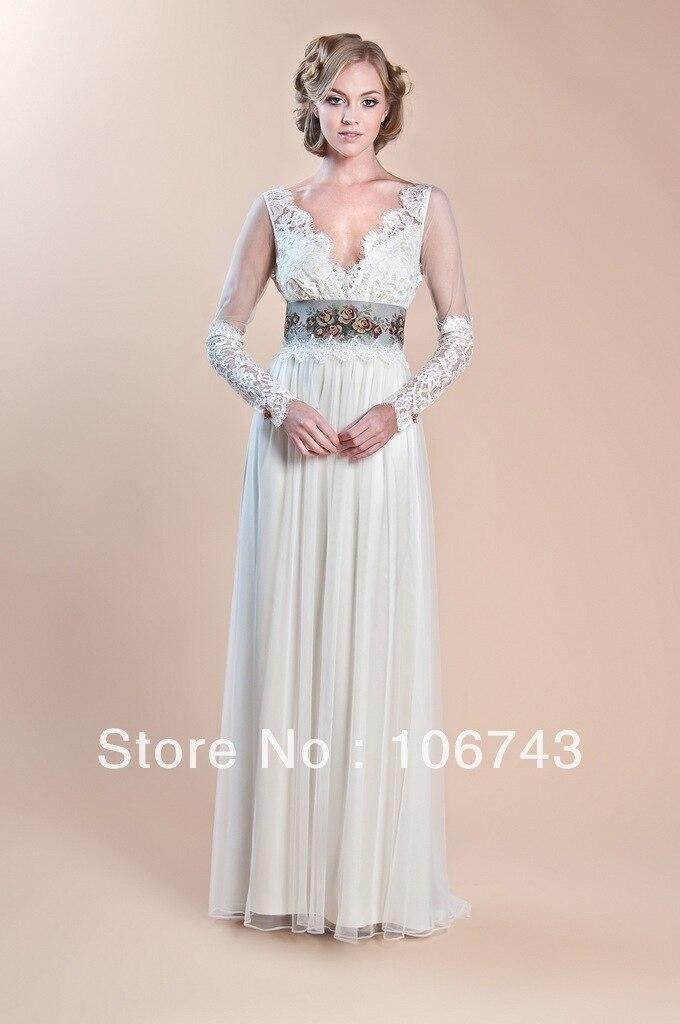 Dress Free Shipping 2016 Custom Classy Long Bridal Wedding Dress Waist Flowers Lace Yarn Sleeves