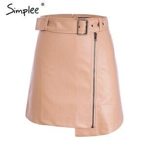 Image 5 - Cuero Pu mujeres falda inferior cintura alta cinturón elegante Falda corta de mujer elegante cremallera Fiesta club wear señoras falda