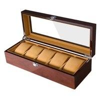 Grids Retro Wooden Watch Display Case Durable Packaging Holder Jewelry Collection Storage Watch Organizer Box Casket