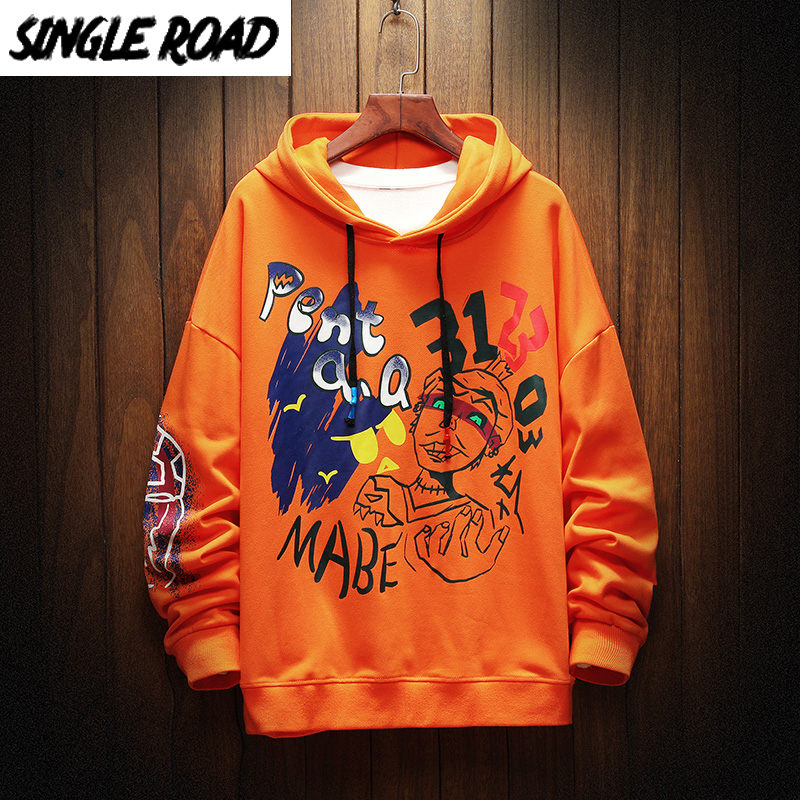 SingleRoad Oversized Men's Hoodies Men Hip Hop Anime Sweatshirt Male Harajuku Japanese Streetwear Orange Hoodie Men Sweatshirts