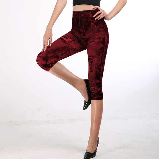 2021 Fitness Leggings 3/4 Lady Faux Jean Pants Women High Waist  Super Elastic Slim Jeggings Plus Size 3XL Short Leggings 6