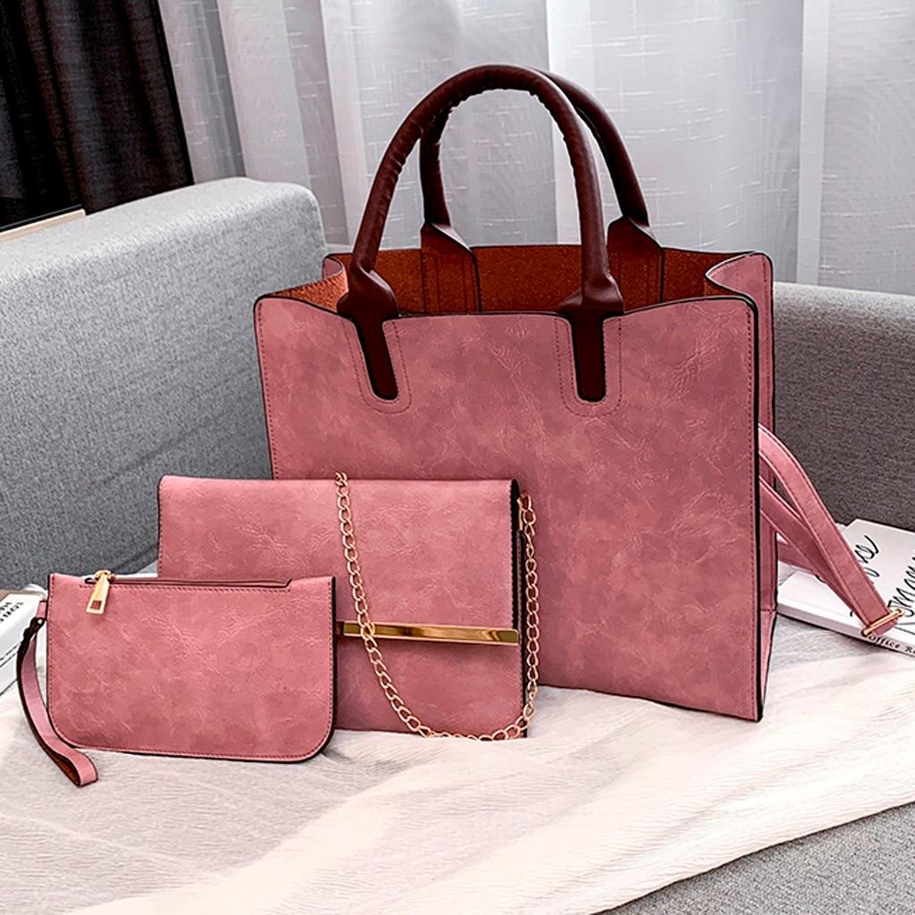 Ensemble sacs 3 pièces mode en cuir PU dames sac à main 76