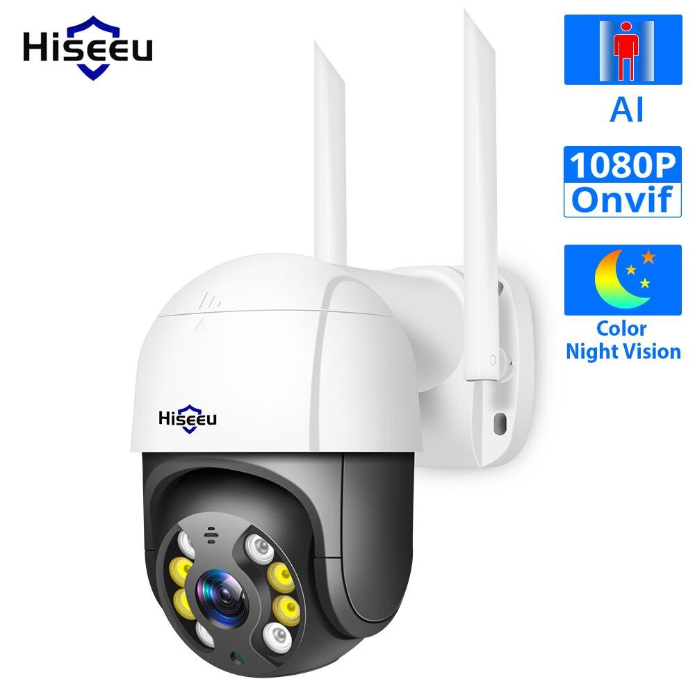 Hiseeu 1080P prędkość kopuła bezprzewodowa kamera WIFI 2MP zewnątrz 4x Zoom cyfrowy kamera PTZ IP Audio sieć CCTV nadzór Onvif