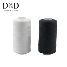 2 шт 500 м швейные нитки из полиэстера набор прочных и прочных черно-белых швейных нитей для ручных машин