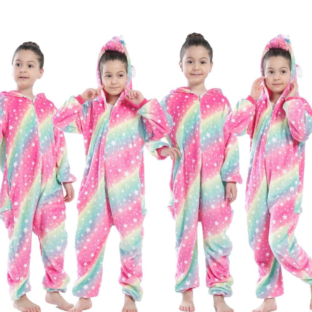 Children Kigurumi Unicorn Pajamas Kids Baby Animal Overalls Jumpsuit Onesie Panda Pajama Sleepwear Girls Cosplay Pyjama Pijamas 6