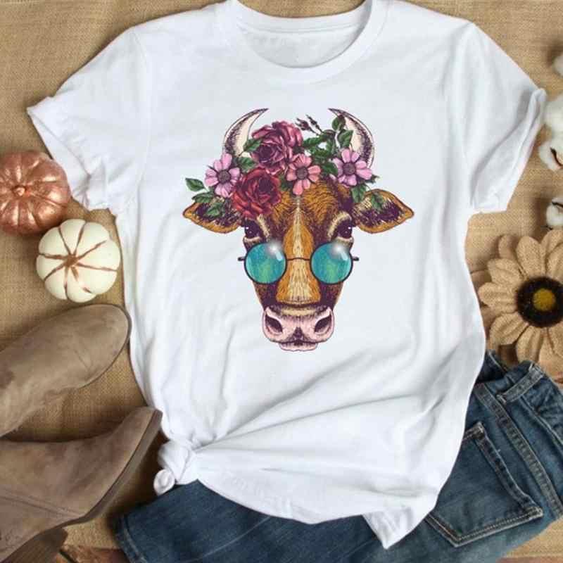 2020 חדש קיץ נשים חולצה פרחוני פרה פרח הדפסת גרפי נשי חולצה שרוול קצר מצחיק מזדמן חולצה גודל S-XXL למעלה j4T4