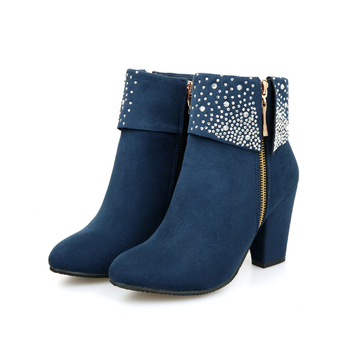 цены Women Shoes Boots Ankle Boots Round Toe High Heel Big Size Women Boots for Autumn Spring Red Black Blue Boots