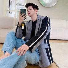 Paid Blazers Autum Iefb/men's Single-Button Male Wear Patchwork for New Loose Big Size-Design