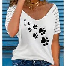 Summer Women T-Shirts Solid Color Bear Paw Print V Neck Ladies Clothing Short Sleeve Harajuku Top Tee Casual Female t Shirt 2021