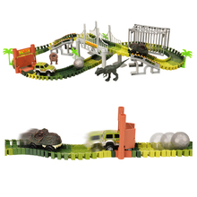 New 158 items/set Railway Magical Dinosaur Track Car Toys Children Racing Bend Rail Track Car model DIY Toy For Child Kids Gift new magic track flexible rail racing car model railway road magical truck pull back tracks cars set diy toys for children gifts