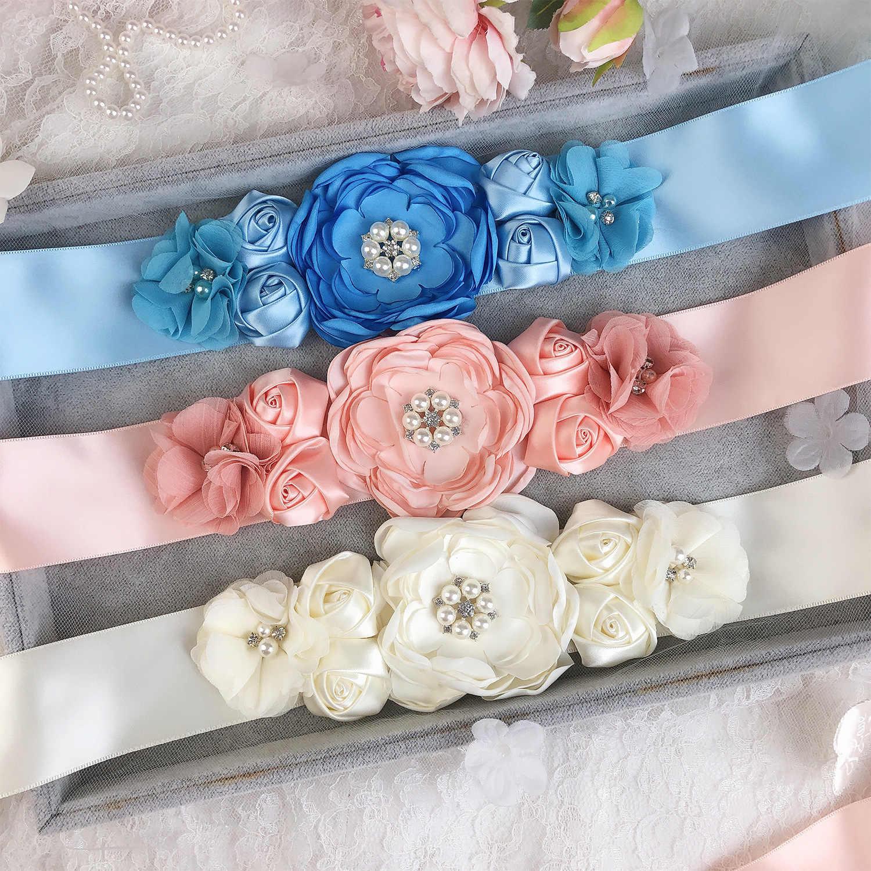 Noiva e uma Mulher Grávida Doce Pérola Flor Emenda Combinação Selo Cintura Cinto de Vestido de Casamento Vestido de Decoração Fotografia Contas