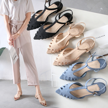 Shoes Woman Sandals Mujer 2019 Summer T Straps Hollow Out Solid Flats Sandals Female Pointed Toe Party Outdoor Beach Casual Shoe xek women sandals summer shoe 2018 new female fashion split leather hollow out nurses working cow muscle flats shoes