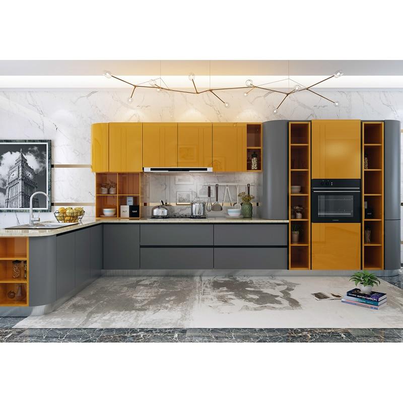 Modern Yellow Grey L Shaped Modular Kitchen Cabinet Designs In