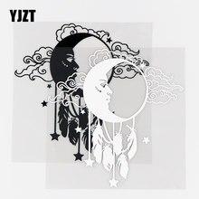 YJZT-pegatina de vinilo creativa para coche, decoración para el cuerpo, sol, luna, nube, espacio divertido, negro/plata, 10A-0490, 15x15,5 CM