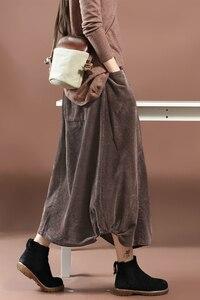 Image 5 - Women Skirt Autumn Winter Large size Long Corduroy Skirt 2019 New Female Elastic Waist pocket Retro Casual Loose Skirt Mori girl