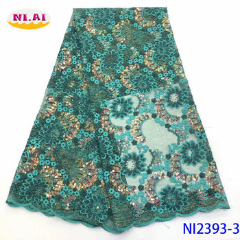NIAI French Net Sequins Lace Fabric Latest African Lace Fabric 2019 High Quality Embroidery Mesh Tulle Lace Material  NI2393-3