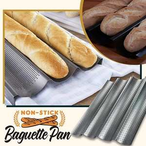 Bread-Baking-Tray Bake-Pan Perforated Carbon-Steel-Mold Grooves-Wave Non-Stick Baguette