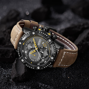 Image 3 - MEGIR Creative Wristwatch Man Watch Waterproof Leather Mens Watches Top Brand Luxury Chronograph Sport Watch Relogio Masculino